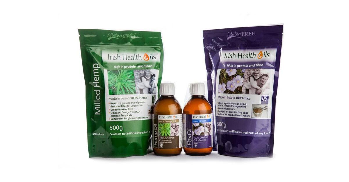 Milled Hemp & Hemp Seeds Oild + Milled Flax & Flax Oil - Irish Health Oils